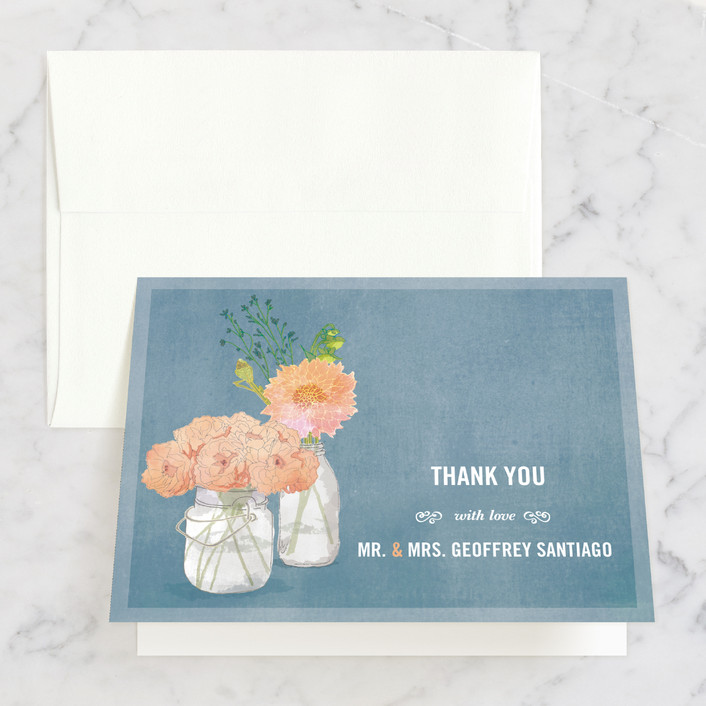 """""""Bouquet D'Amour"""" - Rustic Thank You Cards in Pacific Jade by Beth Ann."""