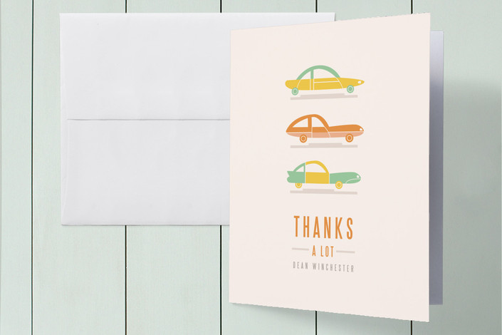 """Thanks a Lot"" - Vintage Thank You Cards in Tangerine by Pistols."