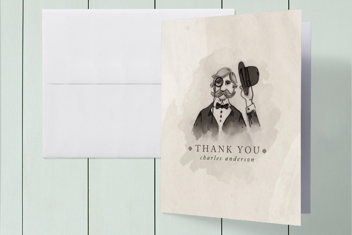 """Proper Thanks"" - Vintage, Hand Drawn Thank You Cards in Beige by Pistols."