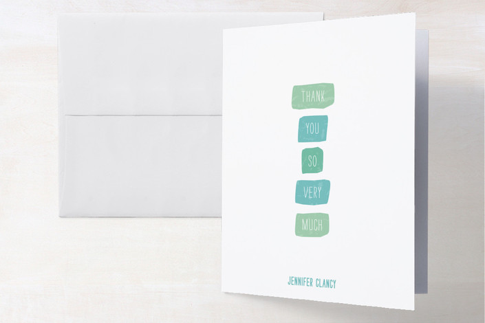 """""""Color Swatches"""" - Modern Thank You Cards in Aqua by roxy."""