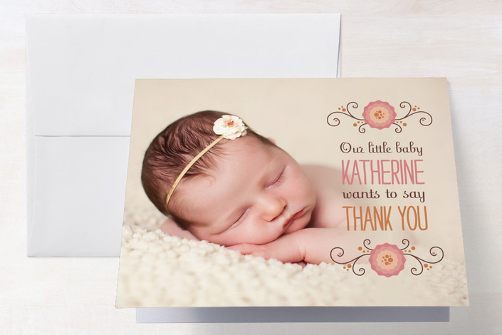"""Little Baby Says"" - Floral & Botanical Thank You Cards in Blush by Sara C.."