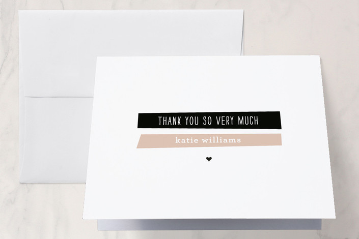 """""""A New Angle"""" - Modern Thank You Cards in Smokey Rose by Susan Brown."""