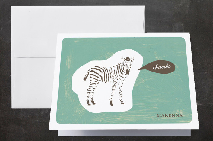"""""""Zebra Cutout"""" - Whimsical & Funny Folded Thank You Card in Ocean by trbdesign."""