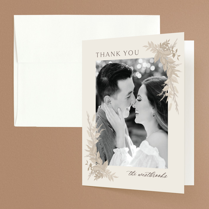 """""""Preserved Fall Botanicals"""" - Bohemian Folded Thank You Card in Linen by Erin Deegan."""