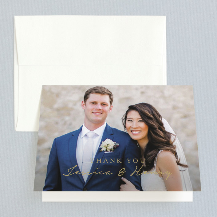 """""""Charleston"""" - Monogram Folded Thank You Card in Tuxedo by Susan Brown."""