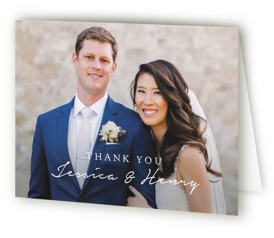 This is a botanical, monogram, black and white Wedding Thank You Cards by Susan Brown called Charleston with Standard printing on Standard Cover in Card fold over (blank inside) format. A hand drawn wreath joined at the top by your ...