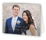 This is a brown wedding thank you card by Susan Brown called Charleston with standard printing on strathmore in standard.