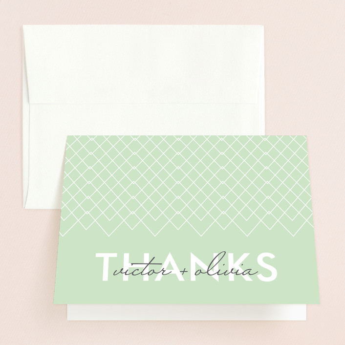 """""""Viva Las Marriage"""" - Modern Thank You Cards in Soft Leaf by Candice Leigh."""
