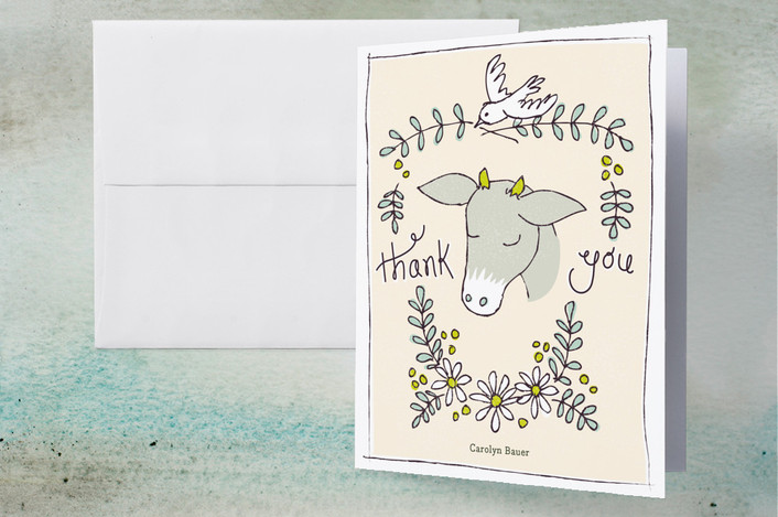 """Goat of Appreciation"" - Hand Drawn Thank You Cards in Dove by 2birdstone."