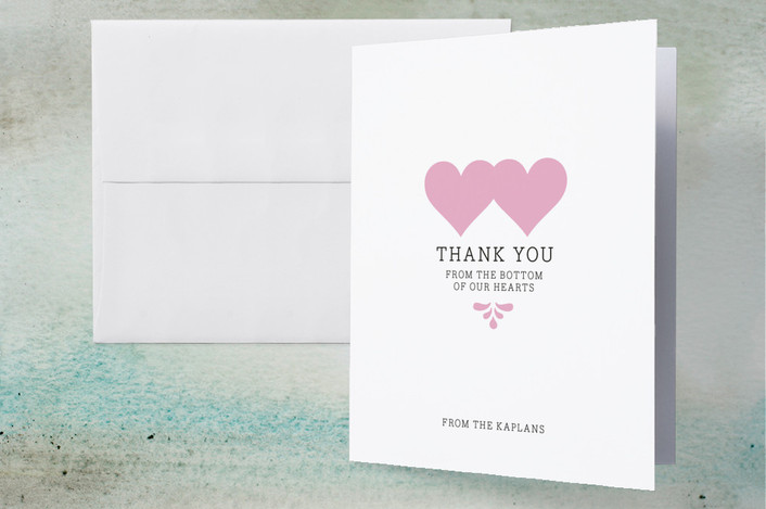 """Bottom of Our Hearts"" - Modern Thank You Cards in Pink by Adori Designs."