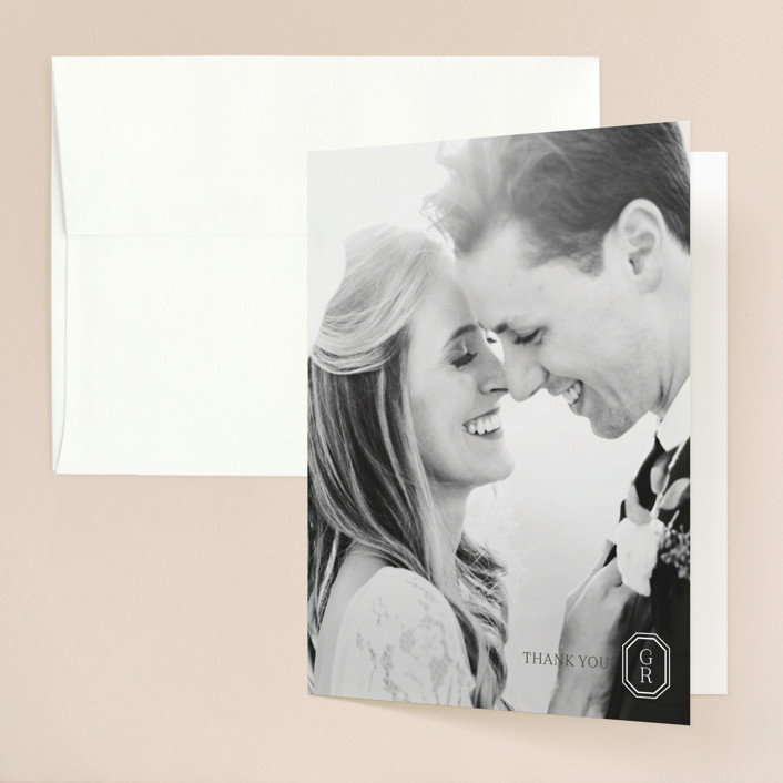 """""""Upper East"""" - Folded Thank You Card in Charcoal by Toast & Laurel."""