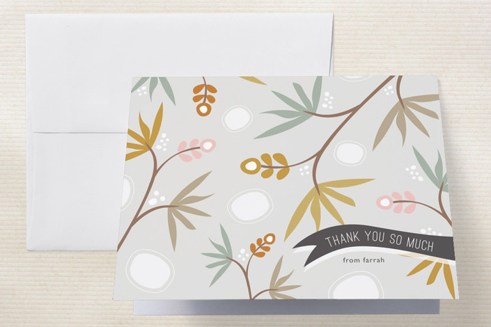 """Tropical Thanks"" - Floral & Botanical Thank You Cards in Gold by Stacey Meacham."