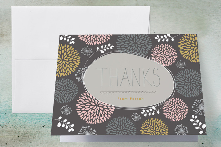 """Thanks a Bunch of Mums"" - Floral & Botanical Thank You Cards in Grey by Stacey Meacham."