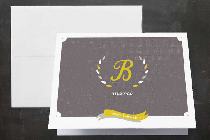 """Laurel Wreath Monogram"" - Modern, Monogrammed Thank You Cards in Lemon by Stacey Meacham."