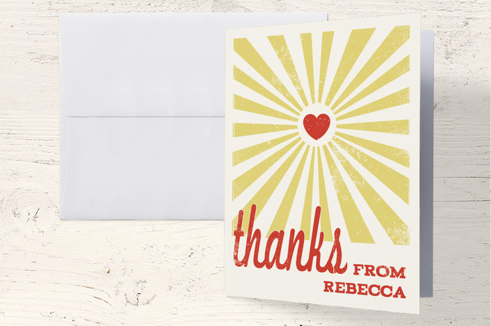 """Heart Rays"" - Vintage, Bold typographic Thank You Cards in Yellow by Tami Bohn."