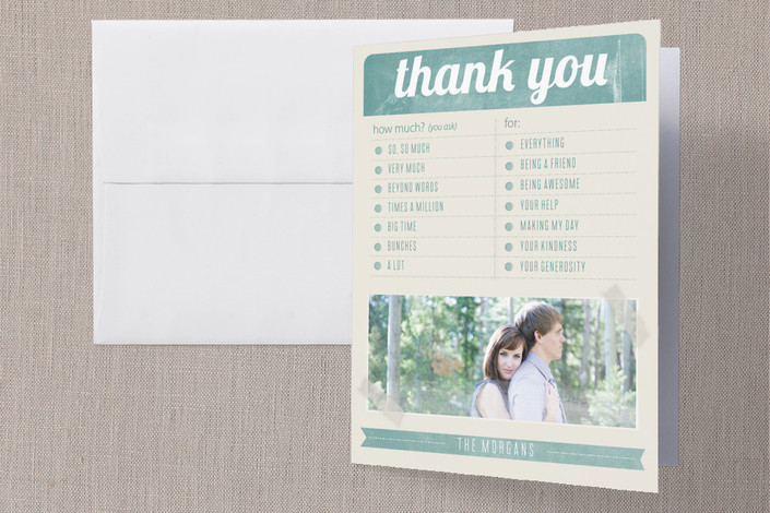 """""""Vintage Survey"""" - Vintage Thank You Cards in Teal by Bethany Anderson."""