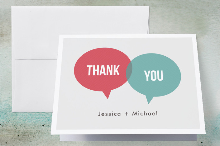 """In Unison"" - Modern Thank You Cards in Tangerine by Katherine Moynagh."