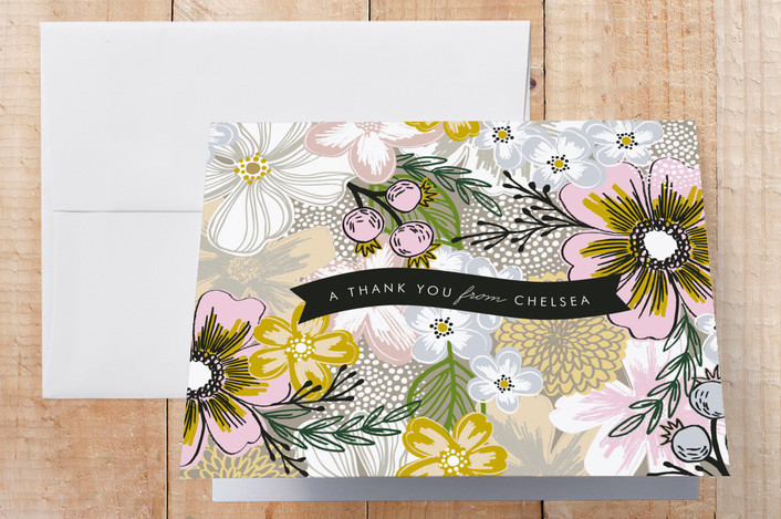 """Flower Sketch"" - Floral & Botanical Thank You Cards in Taupe by Alethea and Ruth."
