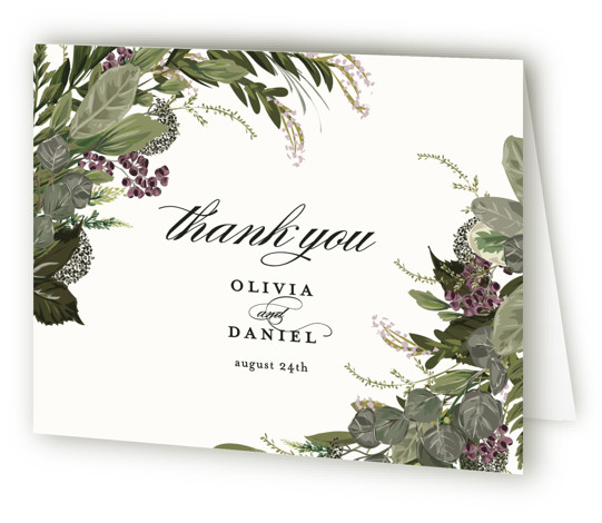This is a green, purple, white Wedding Thank You Cards by Susan Moyal called Side Swept with Standard printing on Standard Cover in Card fold over (blank inside) format. Greenery, leaves, and vines sweep around the wedding details