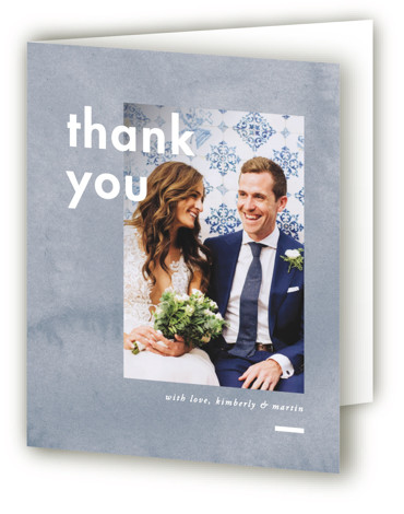 This is a portrait modern, painterly, blue Wedding Thank You Cards by Liz Conley called Contemporary with Standard printing on Standard Cover in Card fold over (blank inside) format. This lovely wedding invitation design features bold blocks of color.