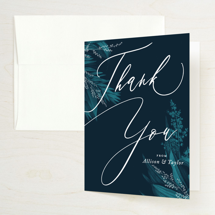 """Moonlit Garden"" - Folded Thank You Card in Twilight by GeekInk Design."
