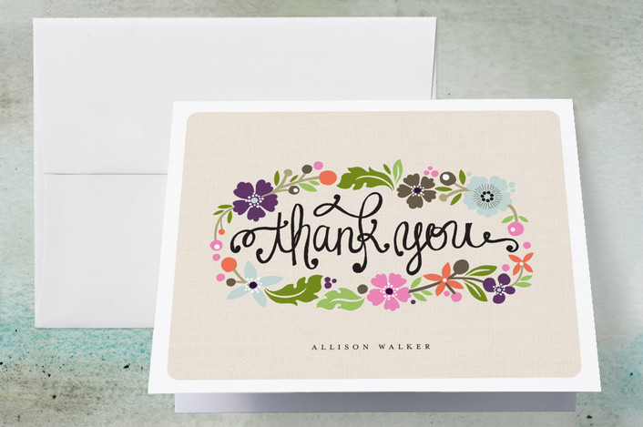 """Daisy Chain"" - Floral & Botanical, Modern Thank You Cards in Blush by Alethea and Ruth."