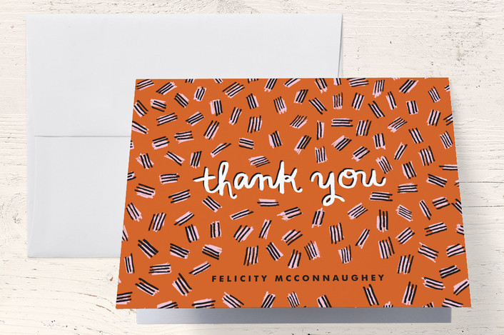 """""""Hatch Mark Pattern"""" - Modern Thank You Cards in Orange by Alethea and Ruth."""