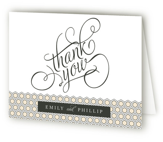 This is a landscape bold typographic, classical, elegant, black Wedding Thank You Cards by Alston Wise called Hold the Date with Standard printing on Standard Cover in Card fold over (blank inside) format.