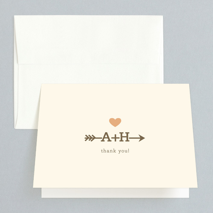"""Love Struck"" - Whimsical & Funny Folded Thank You Card in Pale Salmon Peach by The Social Type."