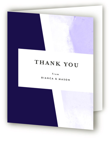 This is a portrait purple Wedding Thank You Cards by Lea Velasquez called Upper Block with Standard printing on Standard Cover in Card fold over (blank inside) format. A modern take on wedding invite featuring black and hand painted abstract ...