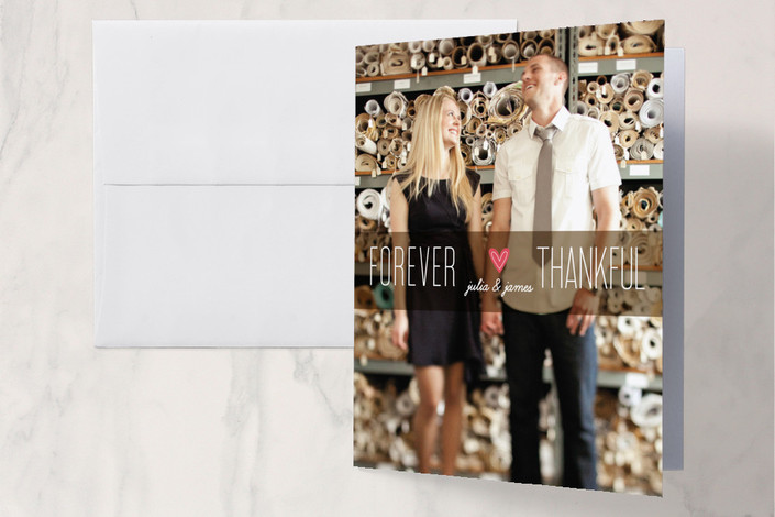 """""""Forever Thankful"""" - Modern Folded Thank You Card in Chocolate by Ana Gonzalez."""