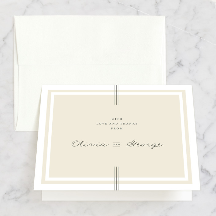 """Three Classic Lines"" - Formal, Classical Thank You Cards in Barley by fatfatin."