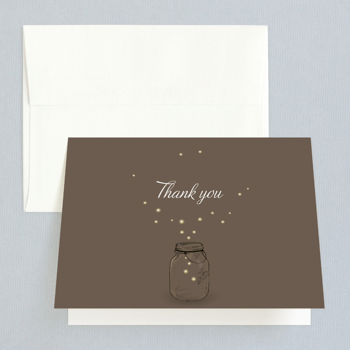 """Fireflies"" - Rustic, Vintage Folded Thank You Card in Lilac Haze by Paige Rothhaar."