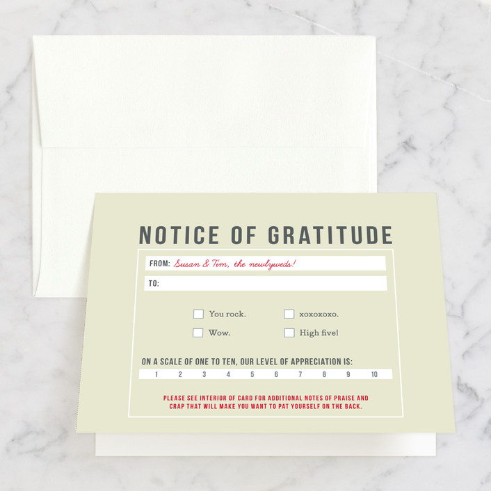 """Invitation-O-Matic"" - Thank You Cards in Khaki by Erin Pescetto."