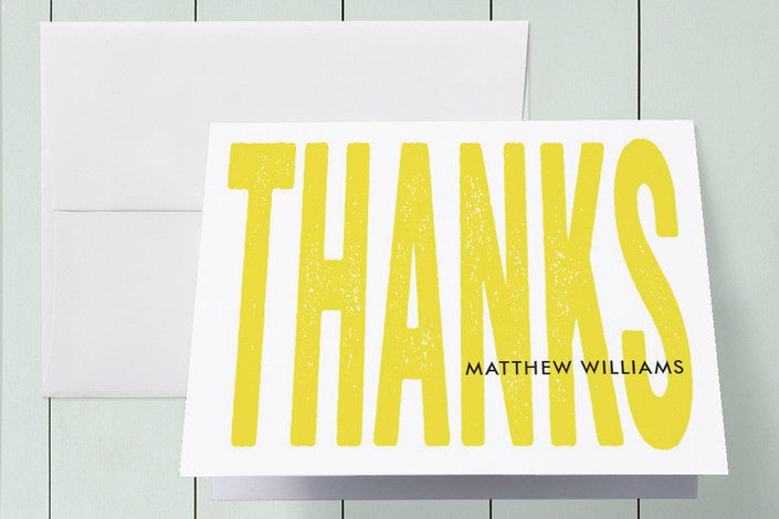 """Big Thanks"" - Modern, Bold typographic Thank You Cards in Lemon by Anna Elder."