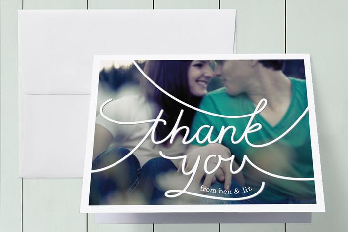 """Photo Script"" - Modern, Hand Drawn Thank You Cards in Slate Grey by arbor corner studio."
