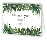 This is a green wedding thank you card by Susan Moyal called Fresh Greens with standard printing on strathmore in standard.