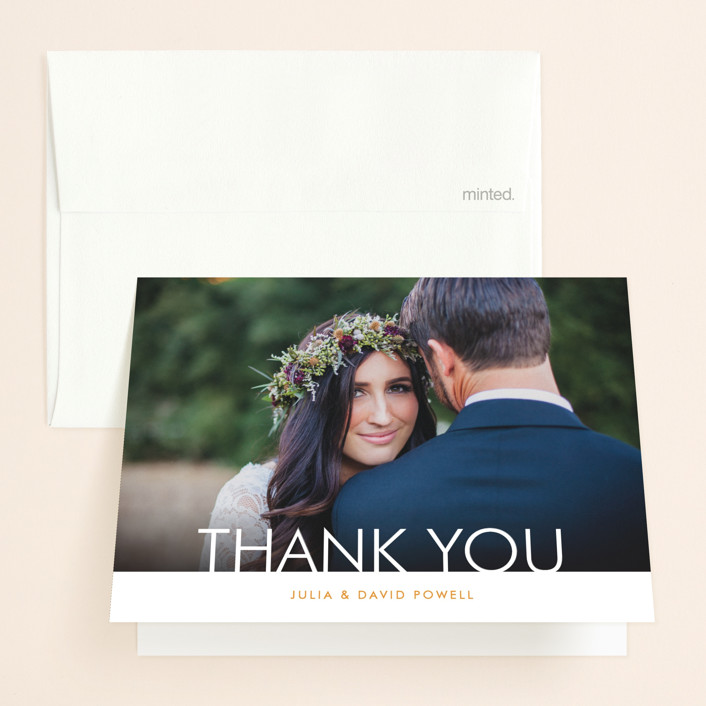 """Minimalist Display"" - Thank You Cards in Orange by Coco and Ellie Design."