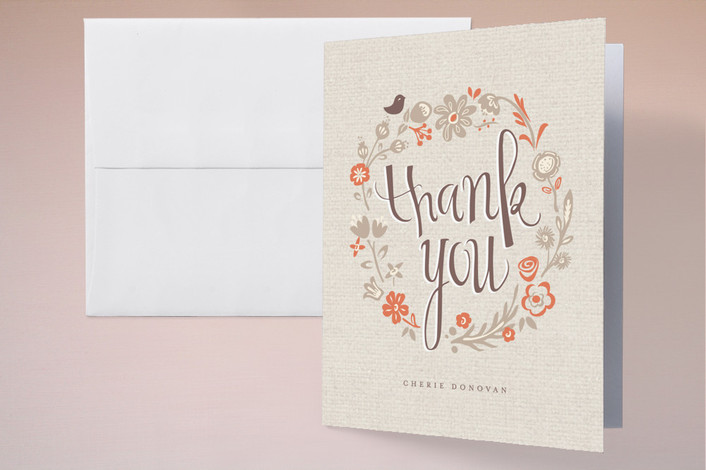 """""""Garden Lullaby"""" - Floral & Botanical, Vintage Thank You Cards in Tangelo by chocomocacino."""