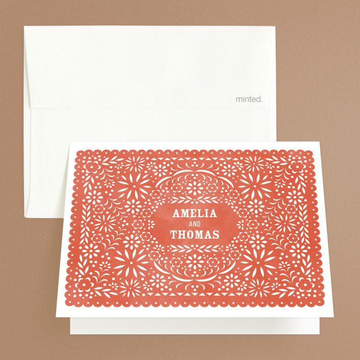 """Fiesta Folk Art"" - Folded Thank You Card in Lagoon by root beer float."