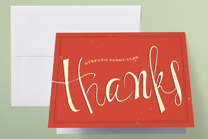 """""""Margarita"""" - Vintage, Bold typographic Thank You Cards in Poppy by chocomocacino."""