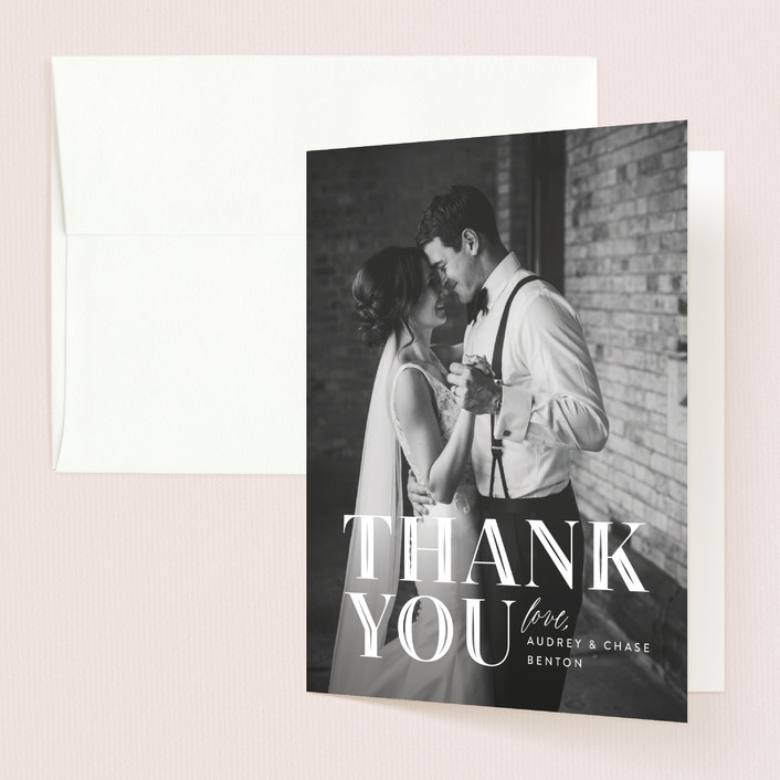 """Ribbon Border"" - Thank You Cards in Tuxedo by Jill Means."
