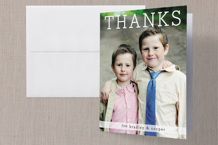 """Thanks from the Boys"" - Modern Folded Thank You Card in White by Christina Novak."