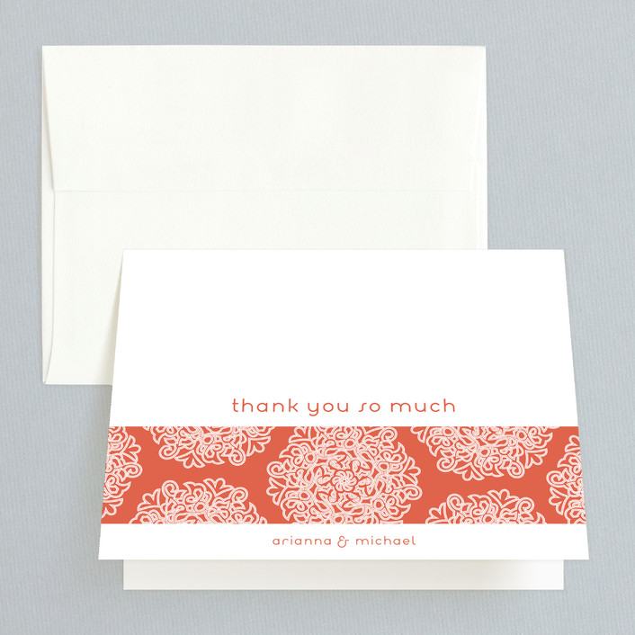 """Love Blossoms"" - Bohemian Thank You Cards in Persimmon by Guess What Design Studio."