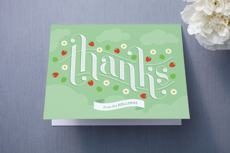 Strawberry Thanks Thank You Cards