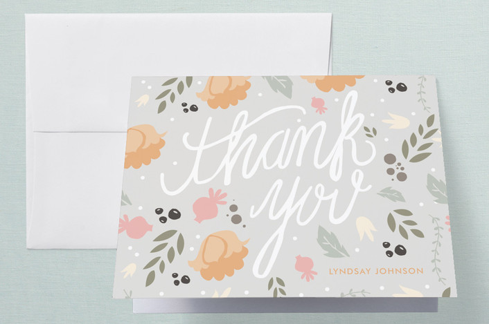 """Southern Hospitality"" - Floral & Botanical Thank You Cards in Grey by Courtnie Johnson."