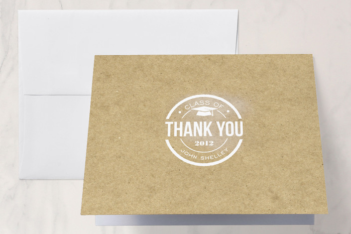 """Simple Graduate"" - Classical, Formal Thank You Cards in Kraft by Courtnie Johnson."