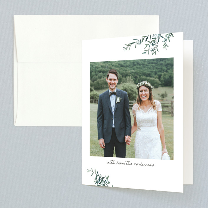 """""""Fresh Sage"""" - Rustic Thank You Cards in Olive by Christie Kelly."""