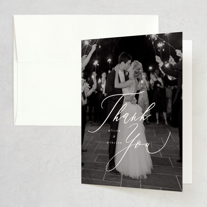 """""""Timeless"""" - Folded Thank You Card in Taupe by Leah Bisch."""