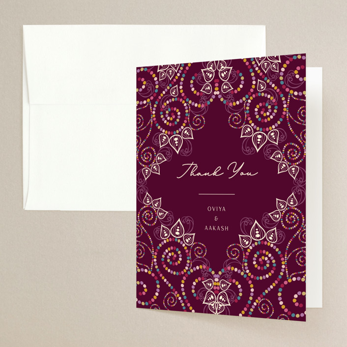 """""""Henna"""" - Folded Thank You Card in Mixed Berry by fatfatin."""